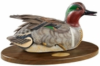 Personalized Preening Green Winged Teal Life-Size Painted Sculpture