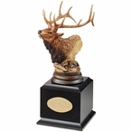 Personalized Primal Call Elk Award Sculpture on Black Wood Base
