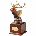 Personalized Primal Call Elk Award Sculpture on Brown Wood Base