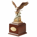 Personalized Splash Down Eagle Bird Award Sculpture on Brown Wood Base