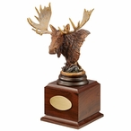 Personalized Twig Eater Moose Award Sculpture on Brown Wood Base