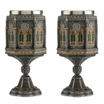 Pewter Cathedral Wall Chalices, Set of 2