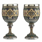 Pewter Star of David Menorah Chalices, Set of 2