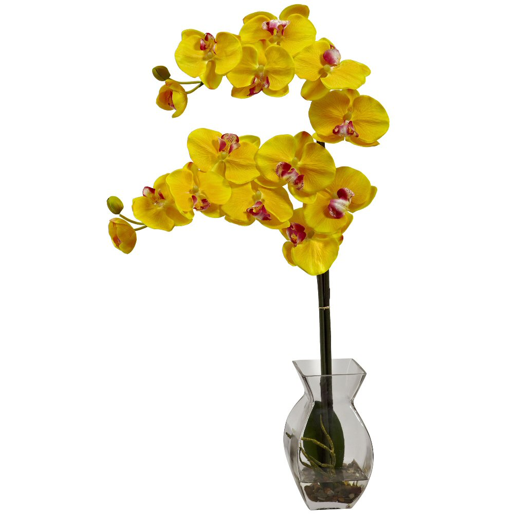 Phalaenopsis Yellow Orchid Silk Flower Arrangement with Vase  Artificial Flowers  Silk Flowers