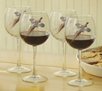 Pheasant Birds Red Wine Glasses, Set of 8