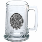 Pheasant Glass Beer Mug with Pewter Accent