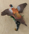 Pheasant Hand Painted Sculpted Single Wall Hooks, Set of 3