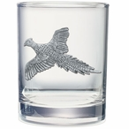 Pheasant Pewter Accent Double Old Fashion Glasses, Set of 2