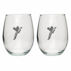 Pheasant Pewter Accent Stemless Wine Glass Goblets, Set of 2