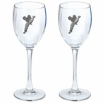 Pheasant Pewter Accent Wine Glass Goblets, Set of 2