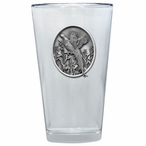 Pheasant Pint Beer Glasses with Pewter Accent, Set of 2