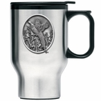 Pheasant Stainless Steel Travel Mug with Handle and Pewter Accent