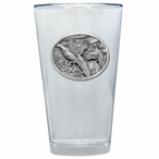 Pheasants Pint Beer Glasses with Pewter Accent, Set of 2