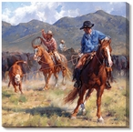 Pickin' Up a New Pair of Heels Cowboys Wrapped Canvas Giclee Print