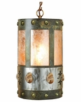 Picture Jasper Stone Metal Round Pendant Light
