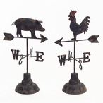 Pig and Rooster Metal Weather Vanes, Set of 2