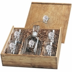 Pig Capitol Decanter & DOF Glasses Box Set with Pewter Accents