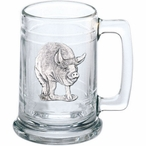Pig Glass Beer Mug with Pewter Accent