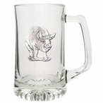 Pig Glass Super Beer Mug with Pewter Accent
