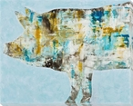 Pig in Blue Wrapped Canvas Giclee Print Wall Art