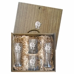 Pig Pilsner Glasses & Beer Mugs Box Set with Pewter Accents