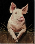 Pig Posing 2 Wrapped Canvas Giclee Print Wall Art