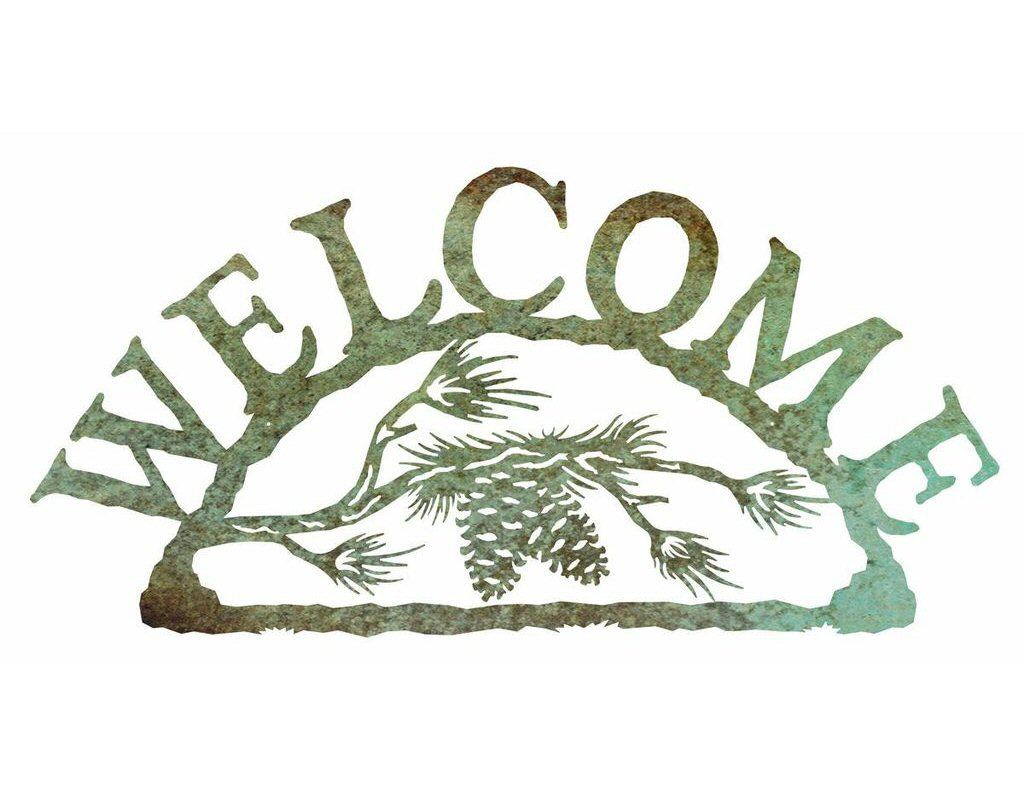 Pine cone branch metal welcome sign rustic outdoor wall for Outdoor decorative signs