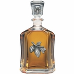 Pine Cone Capitol Glass Decanter with Pewter Accents