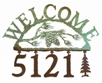 Pine Cone Metal Address Welcome Sign