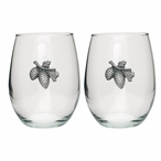Pine Cone Pewter Accent Stemless Wine Glass Goblets, Set of 2