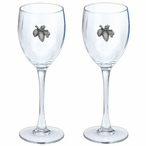 Pine Cone Pewter Accent Wine Glass Goblets, Set of 2