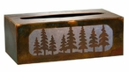 Pine Trees Metal Flat Tissue Box Cover