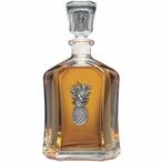 Pineapple Capitol Glass Decanter with Pewter Accents