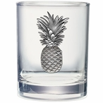Pineapple Pewter Accent Double Old Fashion Glasses, Set of 2