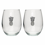 Pineapple Pewter Accent Stemless Wine Glass Goblets, Set of 2