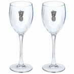 Pineapple Pewter Accent Wine Glass Goblets, Set of 2
