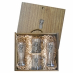 Pineapple Pilsner Glasses & Beer Mugs Box Set with Pewter Accents