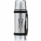 Pineapple Stainless Steel Thermos with Pewter Accent
