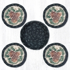 Pinecones Braided Jute Coasters and Basket Holder, Set of 10