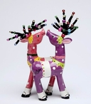 Pink and Purple Print Deer Salt and Pepper Shakers by Babs, Set of 4