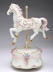 Pink Carousel Horse Musical Music Box Sculpture
