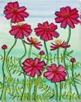 Pink Cosmos Flowers Wrapped Canvas Giclee Print Wall Art