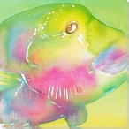 Pink Fish Wrapped Canvas Giclee Print Wall Art