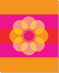 Pink Mod Flower Eight Wrapped Canvas Giclee Print Wall Art