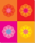 Pink Mod Flower One Wrapped Canvas Giclee Print Wall Art