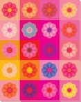 Pink Mod Flower Seven Wrapped Canvas Giclee Print Wall Art