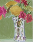 Pink Pansies Flowers I Wrapped Canvas Giclee Print Wall Art