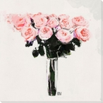 Pink Rose Bouquet Wrapped Canvas Giclee Print Wall Art