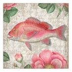 Pink Snapper Fish Vintage Style Metal Sign