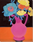 Pink Vase with Flowers Wrapped Canvas Giclee Print Wall Art